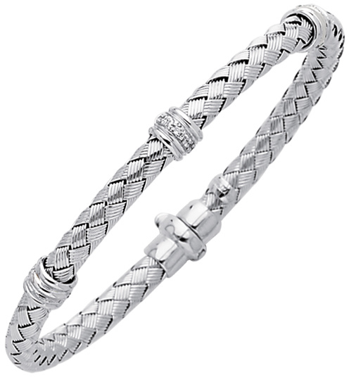 "7.25"" 925 Sterling Silver Rhodium Plated 4.8mm (3/16"") Shiny Basketweave 0.08ctw Diamond Three Rings w/ Fancy Clasp"