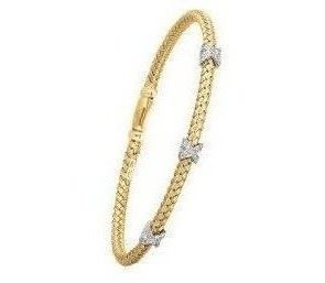 "7.25"" 925 Sterling Silver Rhodium & Yellow Finish 3.7mm (1/7"") Shiny Basketweave 0.06ctw Diamond Three ""x"" Fancy Bangle Bracelet Wth Box Clasp"