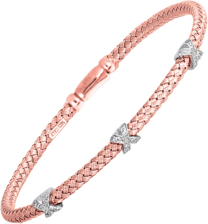 "7.25"" 925 Sterling Silver Rhodium & Rose Gold Plated 3.65mm (1/8"") Shiny Basketweave 0.06ctw Diamond Bangle Bracelet w/ Box Catch"