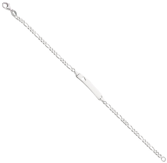 "6"" 925 Sterling Silver Rhodium Plated Shiny Figaro Children ID Bracelet w/ Pear Shape Clasp"