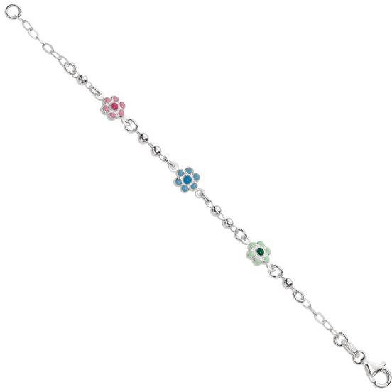 "6"" 925 Sterling Silver Rhodium Plated Shiny Oval Chain Children Bracelet & Bead & Station Flower Charm w/ Pear Shape Clasp"