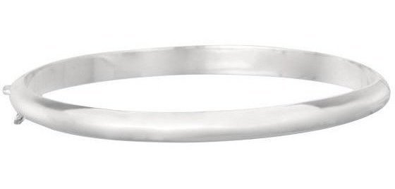 "7.5"" 925 Sterling Silver Rhodium Plated Shiny 5.0mm (1/5"") Slip On Bangle Bracelet w/ Safety Chain"