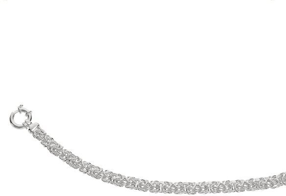 "7.75"" Rhodium Plated 9.0mm (1/3"") Shiny Byzantine 925 Sterling Silver Bracelet w/ Spring Ring Clasp"