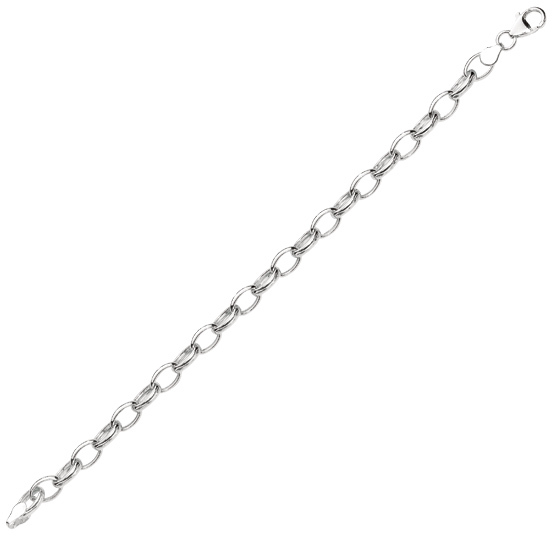 "8"" 925 Sterling Silver Rhodium Plated 7.1mm (2/7"") Shiny Oval Cable Link Charm Bracelet w/ Pear Shape Clasp"
