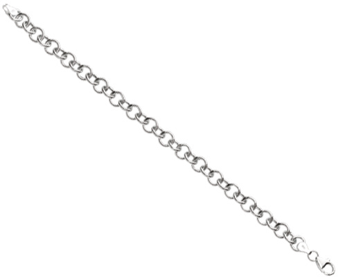 "8"" 925 Sterling Silver Rhodium Plated 8.15mm (5/16"") Shiny Round Cable Link Charm Bracelet w/ Pear Shape Clasp"