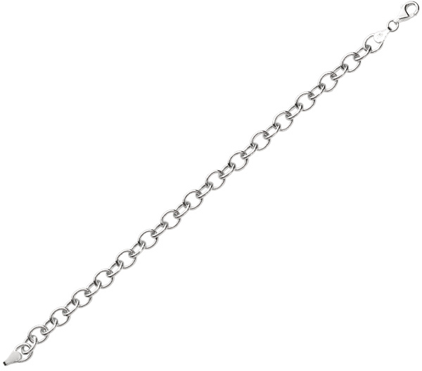 "7.25"" 925 Sterling Silver Rhodium Plated 8.15mm (5/16"") Shiny Round Cable Link Charm Bracelet w/ Pear Shape Clasp"