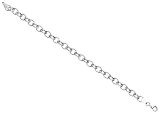 "7.25"" 925 Sterling Silver Rhodium Plated 6.7mm (1/4"") Shiny Round Type Cable Link Charm Bracelet w/ Pear Shape Clasp"