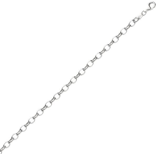 "7.25"" 925 Sterling Silver Rhodium Plated 5.1mm (1/5"") Shiny Oval Cable Link Charm Bracelet w/ Pear Shape Clasp"