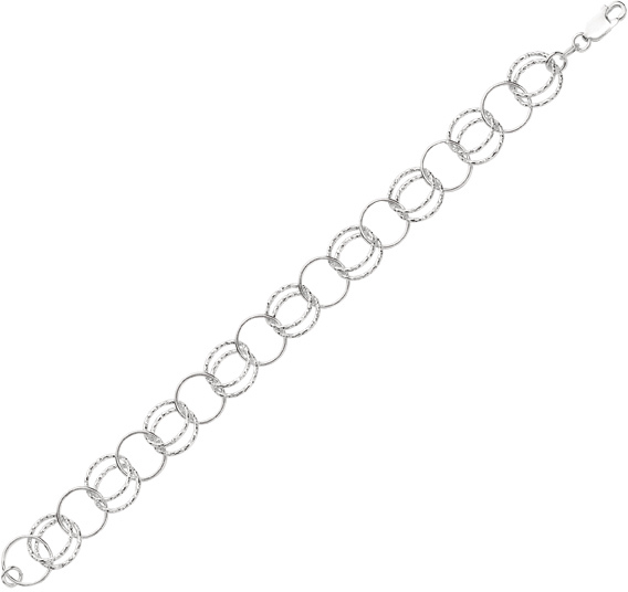 "8"" 925 Sterling Silver Rhodium Plated 11.0mm (7/16"") Shiny Diamond Cut Alternate Double & Single Round Link Fancy Bracelet w/ Lobster Clasp"