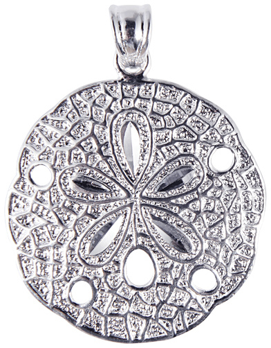 Silver Rhodium Plated Shiny Textured Sand Dollar Sea Life