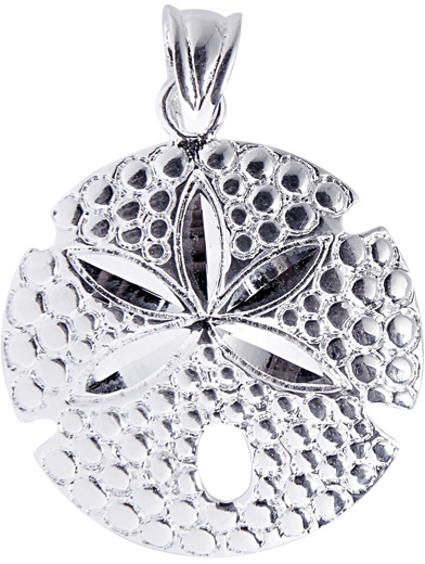 Silver Rhodium Plated Shiny Textured Sand Dollar Sea Life Pendant (BTAGCH131)