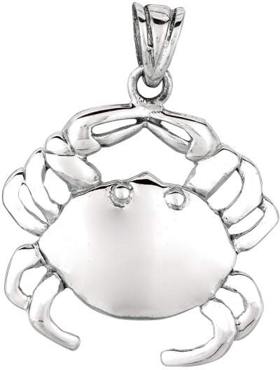 Silver Rhodium Plated Shiny Crab Sea Life Pendant