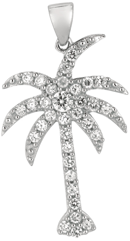 Silver Rhodium Plated Shiny Palm Tree Sea Life Pendant w/ White Cubic Zirconia (CZ) (BTAGCH230)