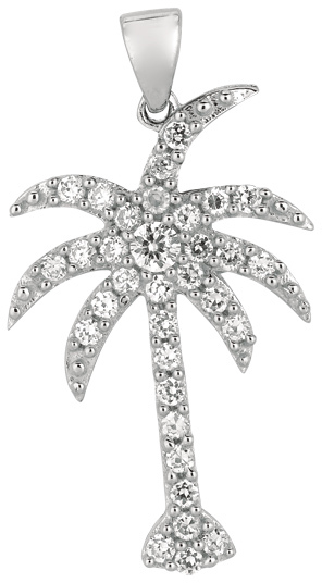 Silver Rhodium Plated Shiny Palm Tree Sea Life Pendant w/ White Cubic Zirconia (CZ) (BTAGCH231)