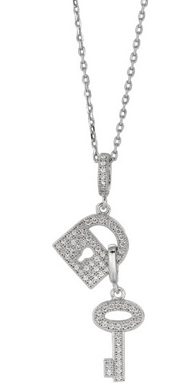 "18"" Rhodium Plated 925 Sterling Silver 1.1mm (0.04"") Cable Chain w/ Lobster Clasp & Lock&key Pendant w/ Clear Cubic Zirconia (CZ)"