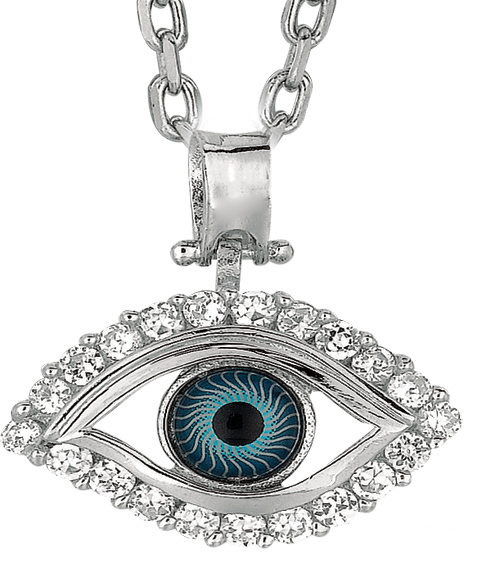 "18"" Rhodium Plated 925 Sterling Silver 1.1mm (0.04"") Cable Chain w/ Lobster Clasp & 6x2 4mm Eye Shape Evil Eye Cubic Zirconia (CZ) Pendant"