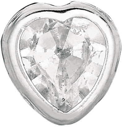 "Silver Rhodium Plated Shiny 5.0mm (1/5"") Clear Heart Cubic Zirconia (CZ) Stud Earrings"