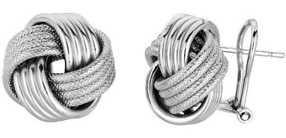"Silver Rhodium Plated Shiny 14.0mm (9/16"") Textured Love Knot Earrings"