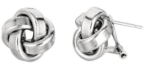 "Silver Rhodium Plated 13.0mm (1/2"") Shiny Texturedd Love Knot Earrings"