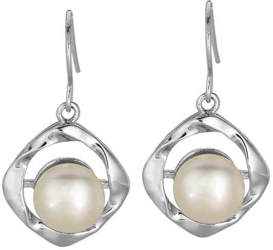 "Silver Rhodium Plated Shiny 8.8mm (1/3"") White Pearl Twisted Dangle Earrings"