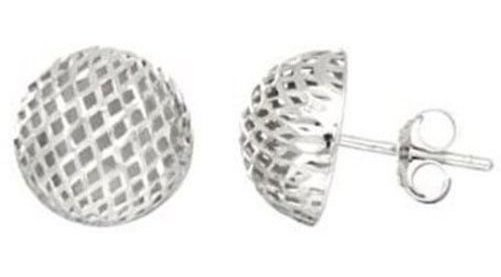 "Silver Rhodium Plated 12mm (7/16"") 1/2 Ball Mesh Post Earrings"