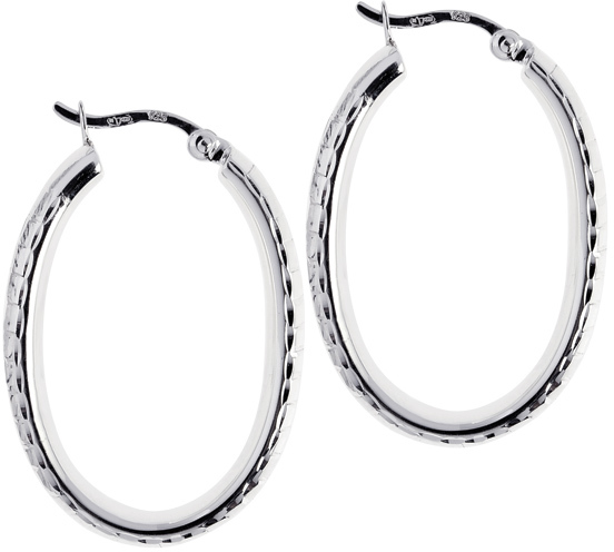 "Silver Rhodium Plated Shiny 6.0x17mm (0.24""x0.67"") Diamond Cut Oval Hoop Earrings"