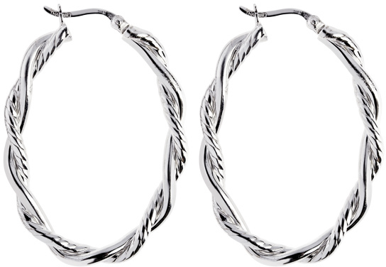 "Silver Rhodium Plated Shiny 4.0x22mm (0.16""x0.87"") Twisted Oval Hoop Earrings"