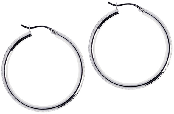 "Silver Rhodium Plated Shiny 5.0x30mm (0.2""x1.18"") Diamond Cut Hoop Earrings"