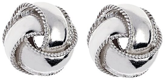 "Silver Rhodium Plated 13.0mm (1/2"") Shiny Textured Love Knot Earrings"