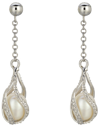 Silver Rhodium Plated Shiny Chain Link Fancy Twisted Tear Drop White Pearl Earrings