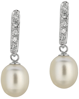 Silver Rhodium Plated Shiny White Pearl Fancy Cubic Zirconia (CZ) Earrings (BTAGE397)