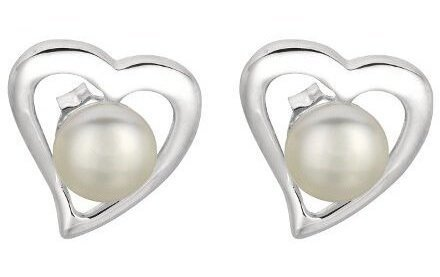 "Silver Rhodium Plated Shiny Open Centered Heart 6.5mm (1/4"") White Pearl Earrings"