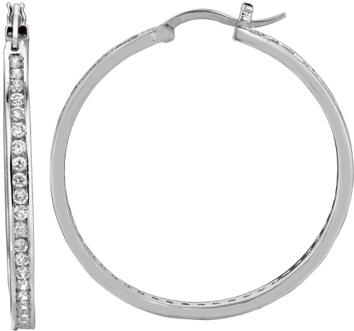 "Silver Rhodium Plated Shiny 2.0x26mm (0.08""x1.02"") Cubic Zirconia Hoop Earrings"
