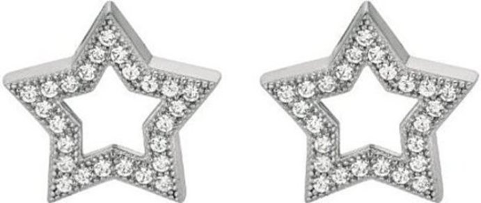 "Silver Rhodium Plated Shiny 15.0mm (9/16"") Open Star w/ Clear Cubic Zirconia (CZ) Earrings"