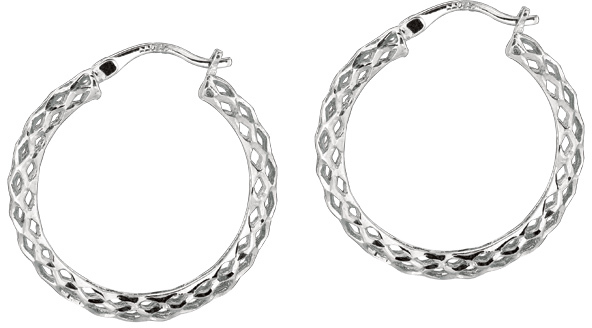 "Silver Rhodium Plated Shiny Diamond Cut 3.0x20mm (0.12""x0.79"") Weaved Hoop Type Earrings (BTAGE551)"