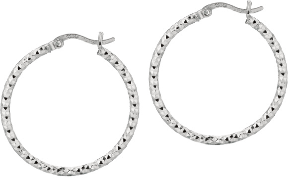 "Silver Rhodium Plated Shiny Diamond Cut 2.0x25mm (0.08""x0.98"") Weaved Hoop Type Earrings"