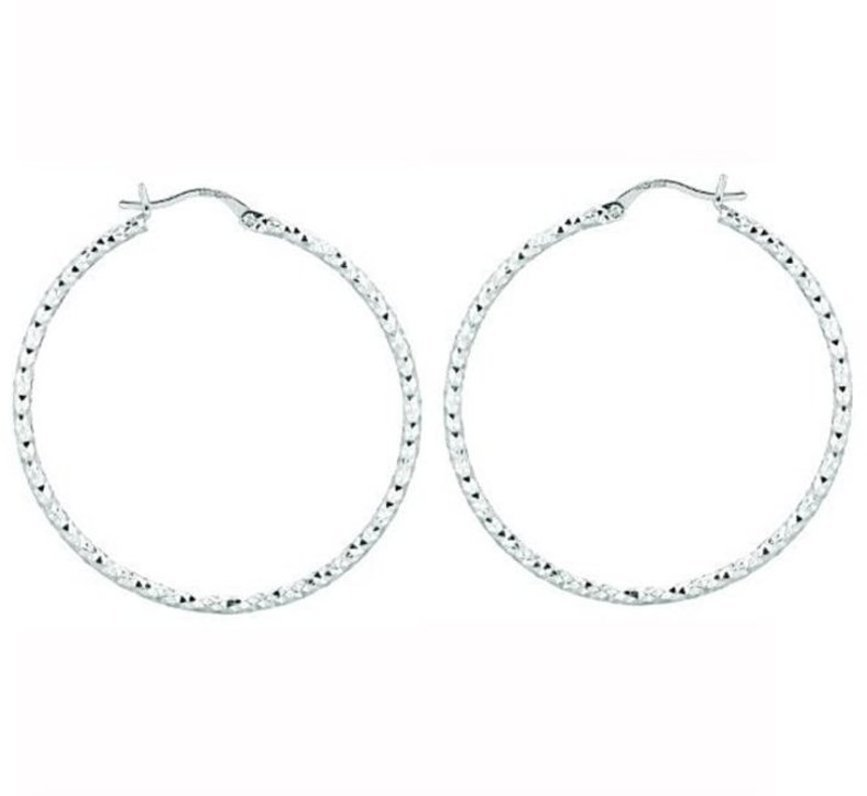 "Silver Rhodium Plated Shiny Diamond Cut 2.0x40mm (0.08""x1.57"") Weaved Hoop Type Earrings"