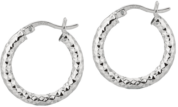 "Silver Rhodium Plated Shiny Diamond Cut 3.0x15mm (0.12""x0.59"") Weaved Hoop Type Earrings (BTAGE560)"