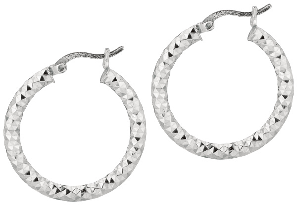 "Silver Rhodium Plated Shiny Diamond Cut 3.0x20mm (0.12""x0.79"") Weaved Hoop Type Earrings (BTAGE561)"