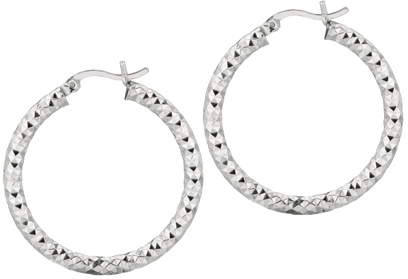 "Silver Rhodium Plated Shiny Diamond Cut 3.0x25mm (0.12""x0.98"") Weaved Hoop Type Earrings"
