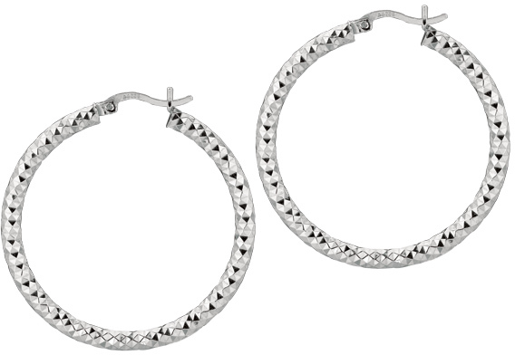 "Silver Rhodium Plated Shiny Diamond Cut 3.0x30mm (0.12""x1.18"") Weaved Hoop Type Earrings (BTAGE563)"