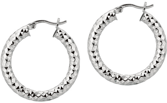 "Silver Rhodium Plated Shiny Diamond Cut 4.0x20mm (0.16""x0.79"") Weaved Hoop Type Earrings"