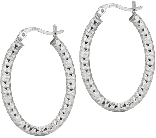 "Silver Rhodium Plated Shiny 3.0x17mm (0.12""x0.67"") Diamond Cut Oval Hoop Earrings"