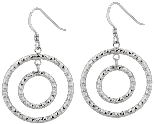 Silver Rhodium Plated Textured Shiny Small Open Ring In Large Open Circle Dangle Earrings