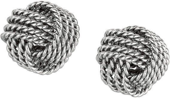 "Silver Rhodium Plated 9.0mm (1/3"") Shiny Textured Love Knot Earrings"