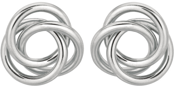 "Silver Rhodium Plated 16.0mm (5/8"") Shiny Coil Type Love Knot Earrings"