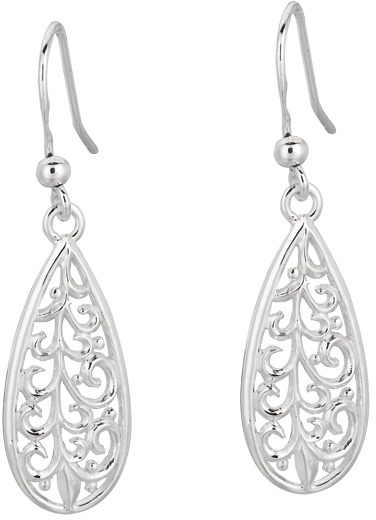 Silver Rhodium Plated Shiny Design Tear Drop Earrings (BTAGE615)