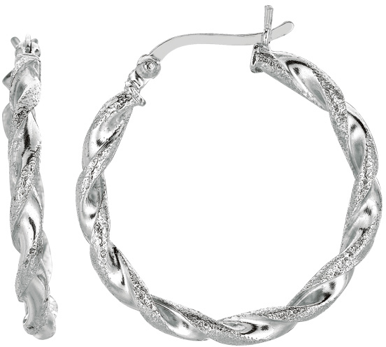 "Silver Rhodium Plated Shiny Diamond Cut 3.0x20mm (0.12""x0.79"") Textured Twisted Hoop Earrings"