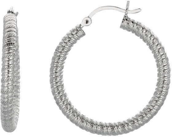 "Silver Rhodium Plated Shiny 3.0x22mm (0.12""x0.87"") Textured Hoop Earrings"