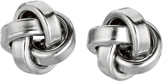"Silver Rhodium Plated 10.0mm (3/8"") Shiny Love Knot Earrings (BTAGE786)"